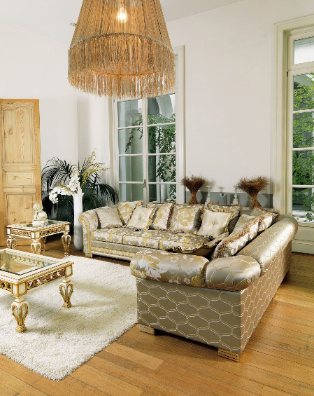 Ambassador divano angolare classico in tessuto pigoli made in italy - Divano classico tessuto ...