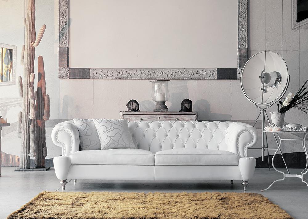 Omero divano classico bianco in pelle pigoli made in italy - Divano classico in pelle ...
