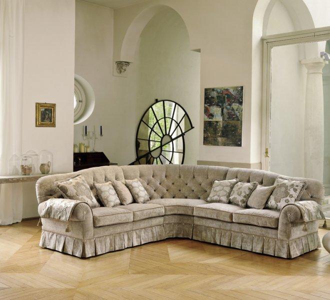Morfeo divano classico ad angolo in tessuto pigoli made in italy - Divano classico tessuto ...