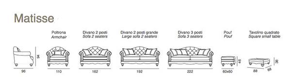 misure divano Matisse