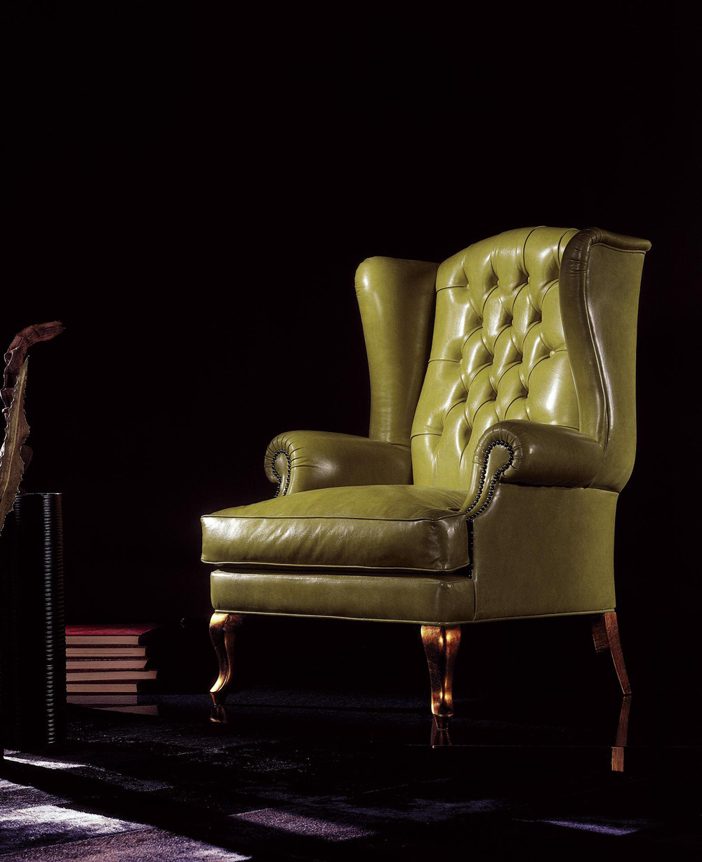 Poltrone Bergere In Pelle.Big Ben Poltrona Classica In Pelle Bergere Pigoli Made In Italy